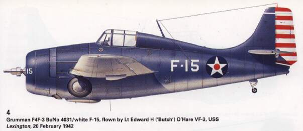 F4F Wildcat flown by Butch O'Hare, Feb, 1942